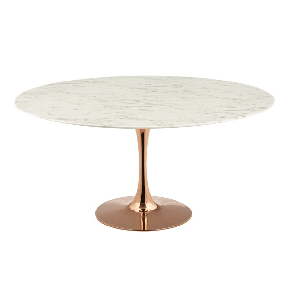"Lippa 60"" Round Artificial Marble Dining Table Rose White"