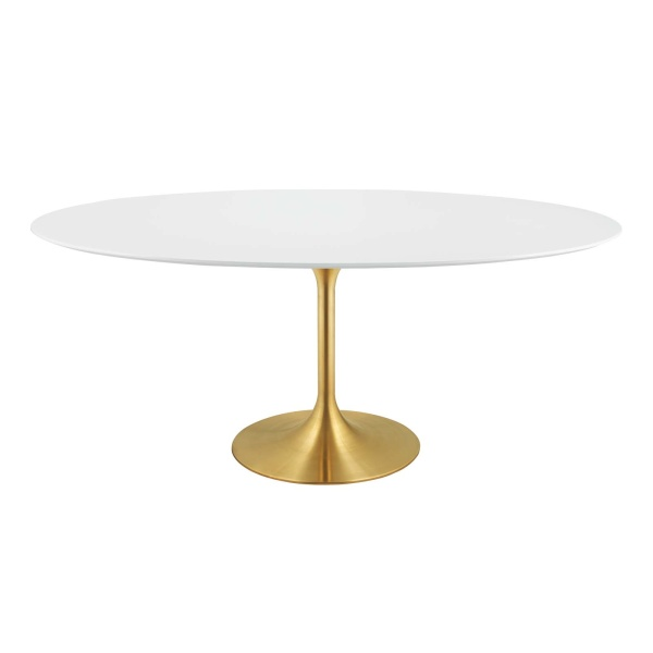 "Lippa 78"" Oval Wood Dining Table Gold White"