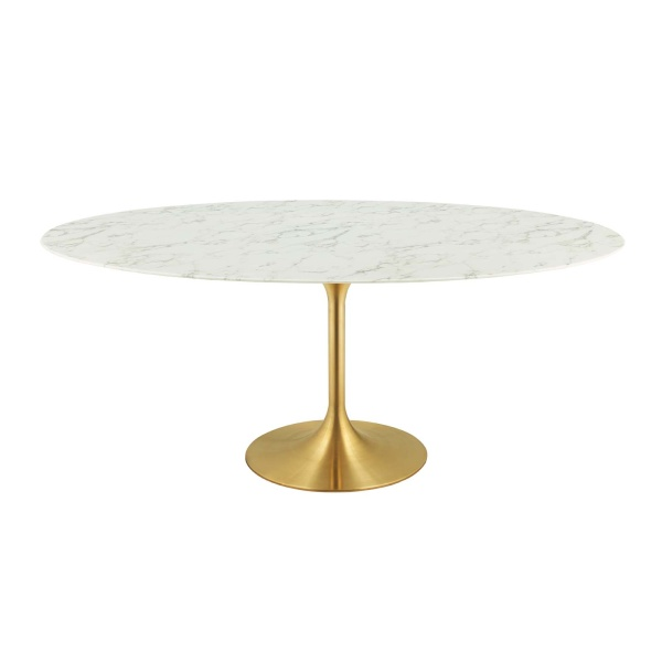"Lippa 78"" Oval Artificial Marble Dining Table Gold White"