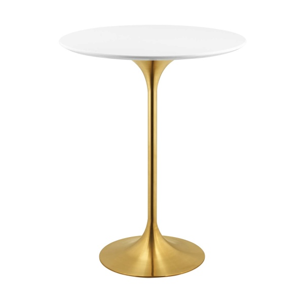 "Lippa 28"" Wood Top Bar Table Gold White"