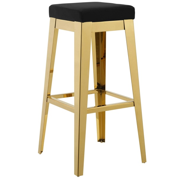 Arrive Gold Stainless Steel Performance Velvet Bar Stool Gold Black