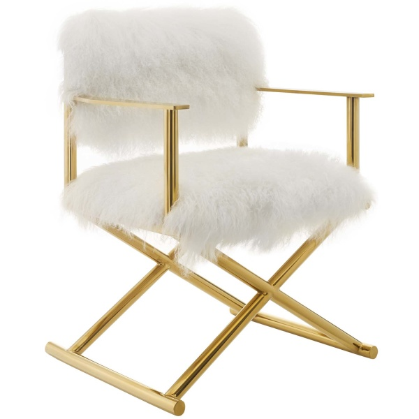 Action Pure White Cashmere Accent Director's Chair Gold White Arm Chair