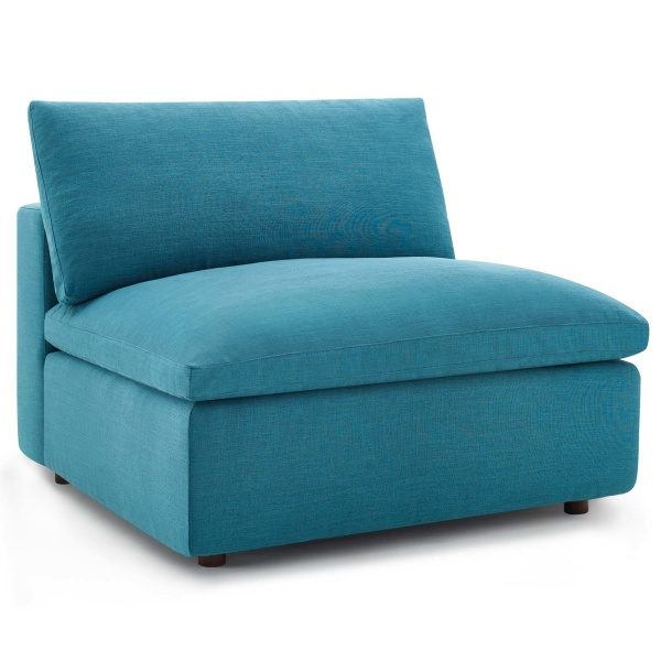 EEI-3270-TEA Commix Down Filled Overstuffed Armless Chair Teal