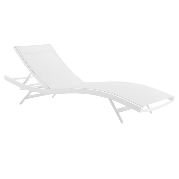 EEI-3300-WHI-WHI Glimpse Outdoor Patio Mesh Chaise Lounge Chair
