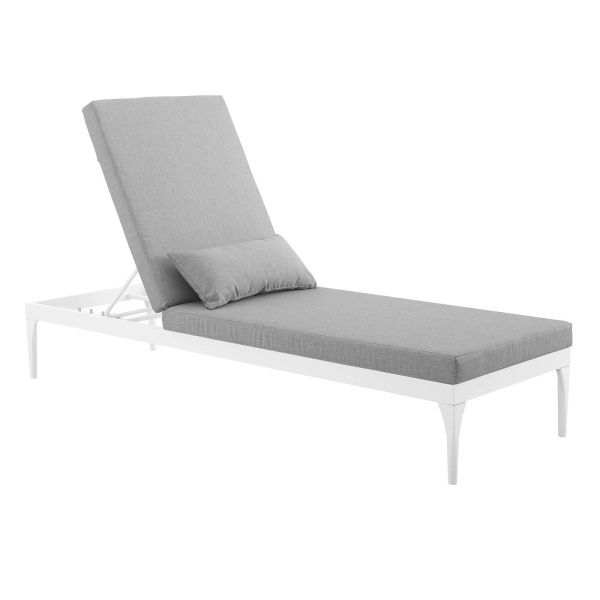 EEI-3301-WHI-GRY Perspective Cushion Outdoor Patio Chaise Lounge Chair