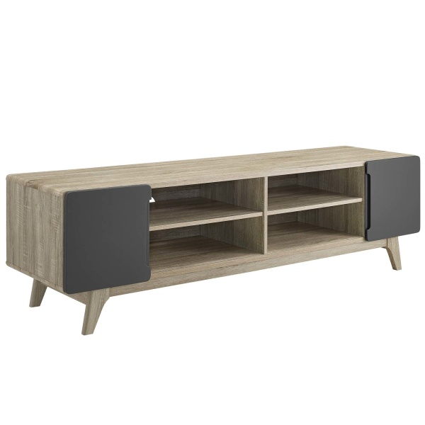 "EEI-3306-NAT-GRY Tread 70"" Media Console TV Stand"