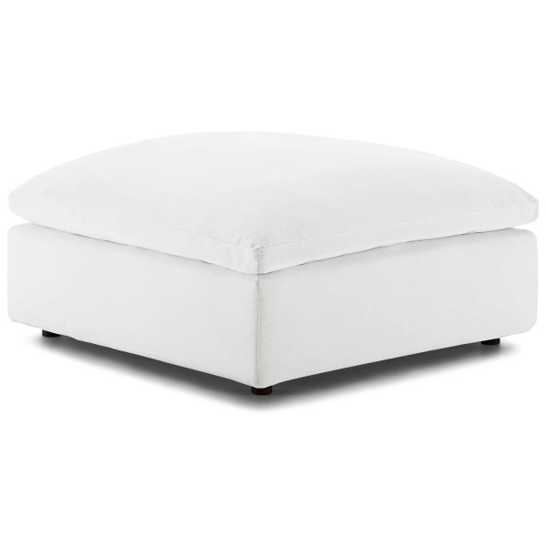 EEI-3318-WHI Commix Down Filled Overstuffed Ottoman White