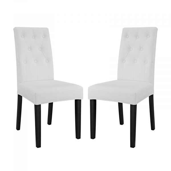 EEI-3323-WHI Confer Dining Side Chair Vinyl Set of 2 White