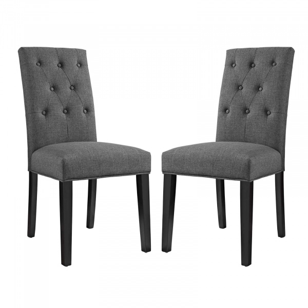 EEI-3325-GRY Confer Dining Side Chair Fabric Set of 2 Gray