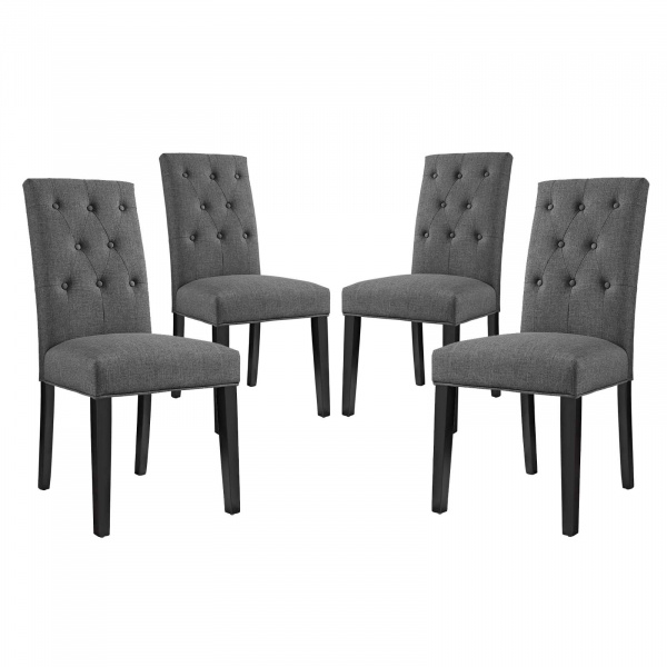EEI-3326-GRY Confer Dining Side Chair Fabric Set of 4 Gray