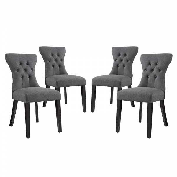 EEI-3328-GRY Silhouette Dining Side Chairs Upholstered Fabric Set of 4 Gray