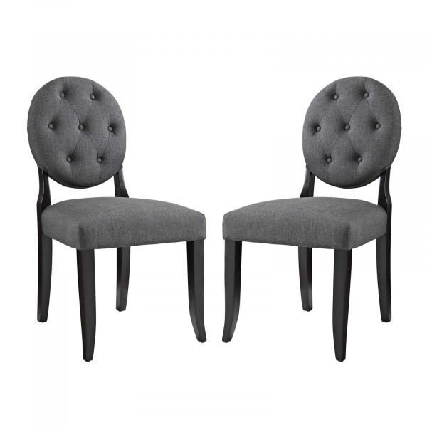EEI-3329-GRY Button Dining Side Chair Upholstered Fabric Set of 2 Gray