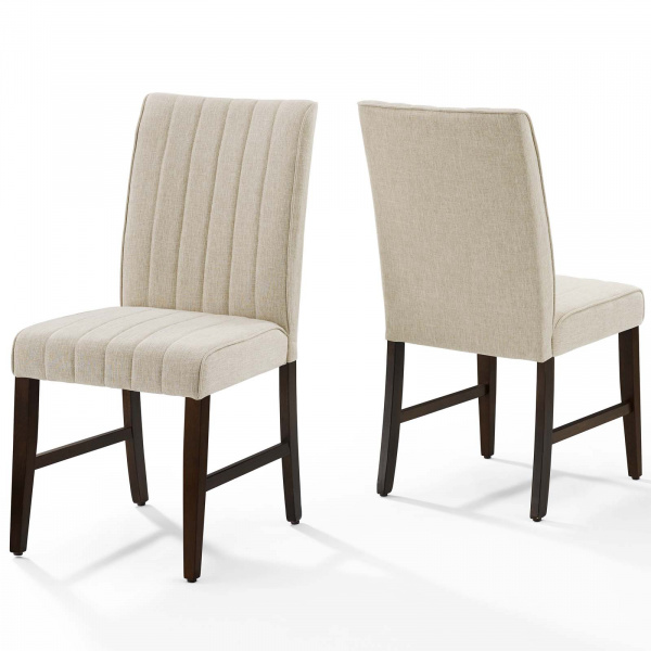 Motivate Channel Tufted Upholstered Fabric Dining Chair Set of 2 Beige
