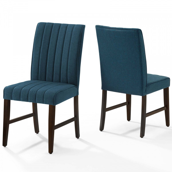 Motivate Channel Tufted Upholstered Fabric Dining Chair Set of 2 Blue
