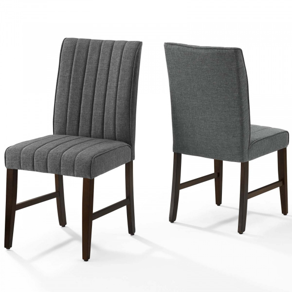 Motivate Channel Tufted Upholstered Fabric Dining Chair Set of 2 Gray