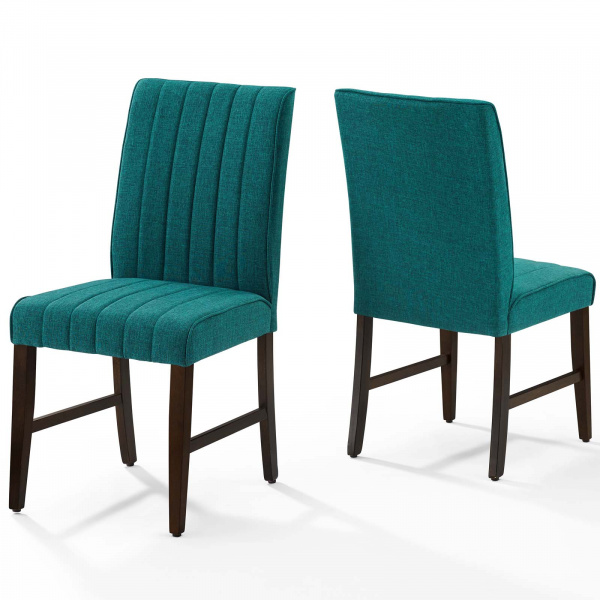 Motivate Channel Tufted Upholstered Fabric Dining Chair Set of 2 Teal