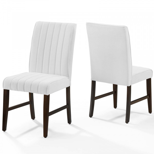 Motivate Channel Tufted Upholstered Fabric Dining Chair Set of 2 White