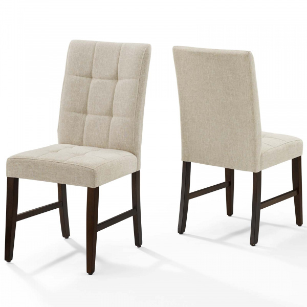 Promulgate Biscuit Tufted Upholstered Fabric Dining Chair Set of 2 Beige