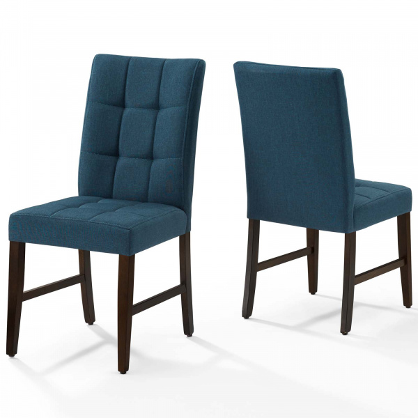 Promulgate Biscuit Tufted Upholstered Fabric Dining Chair Set of 2 Blue