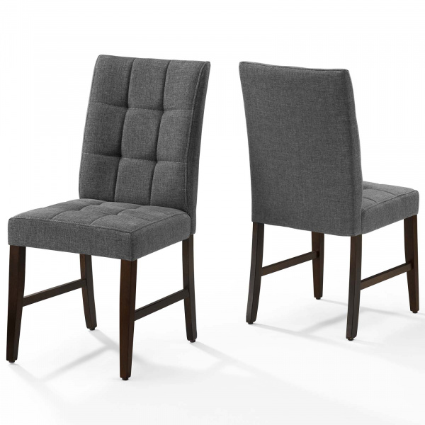 Promulgate Biscuit Tufted Upholstered Fabric Dining Chair Set of 2 Gray