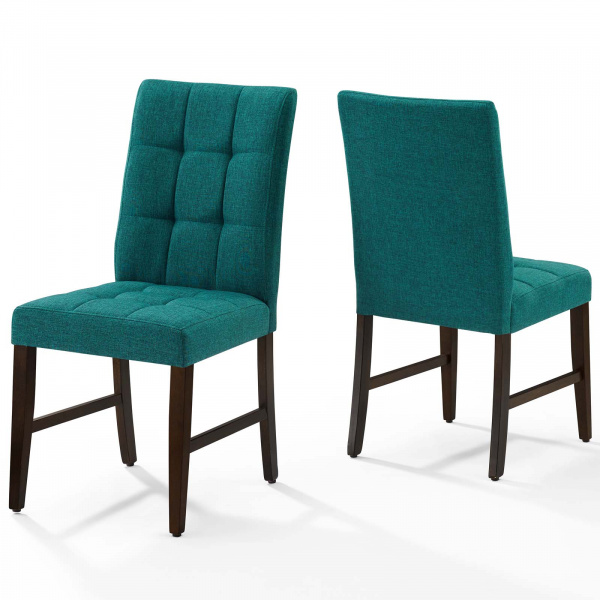Promulgate Biscuit Tufted Upholstered Fabric Dining Chair Set of 2 Teal