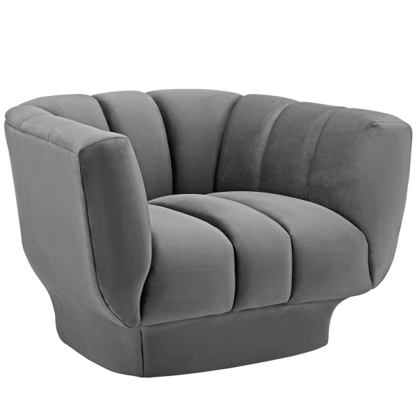 EEI-3352-GRY Entertain Vertical Channel Tufted Performance Velvet Armchair Gray