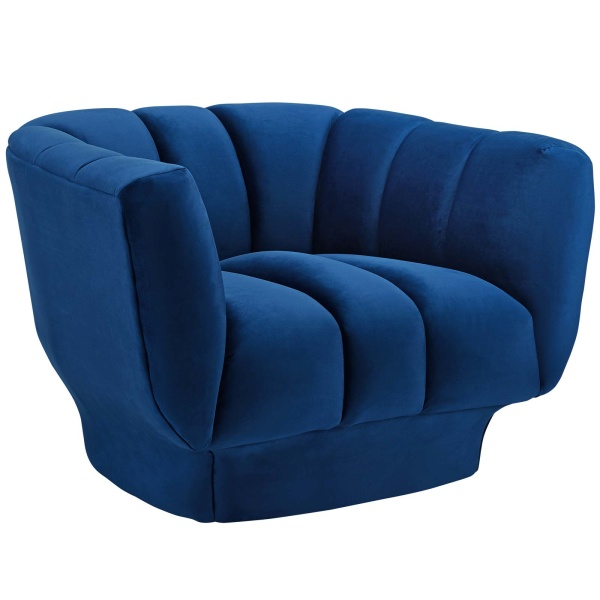 Entertain Vertical Channel Tufted Performance Velvet Armchair Navy