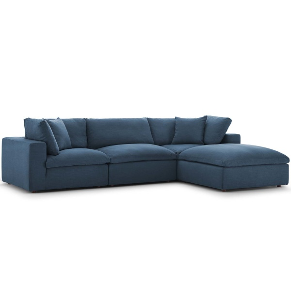 EEI-3356-AZU Commix Down Filled Overstuffed 4 Piece Sectional Sofa Set Azure