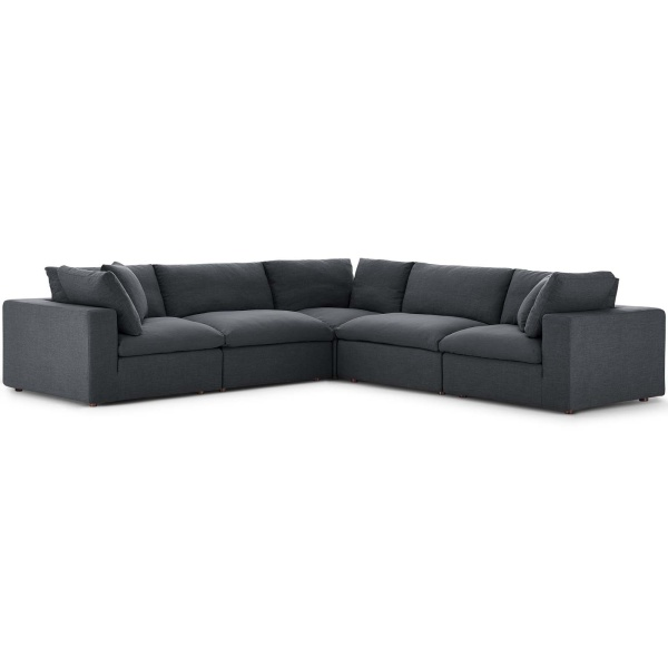 EEI-3359-GRY Commix Down Filled Overstuffed 5 Piece Sectional Sofa Set Gray