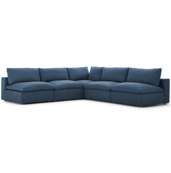 EEI-3360-AZU Commix Down Filled Overstuffed 5 Piece Sectional Sofa Set Azure