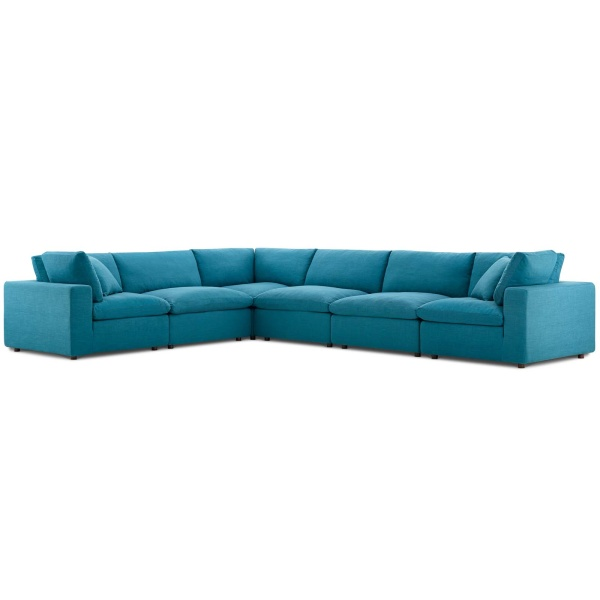 EEI-3361-TEA Commix Down Filled Overstuffed 6 Piece Sectional Sofa Set Teal