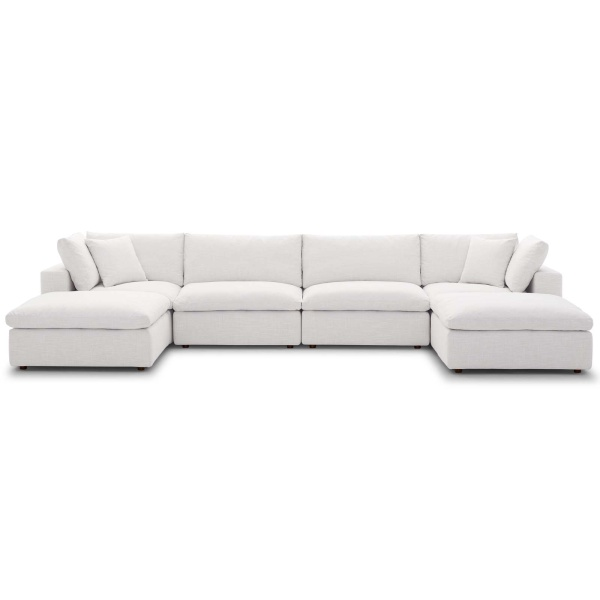 EEI-3362-BEI Commix Down Filled Overstuffed 6 Piece Sectional Sofa Set Beige