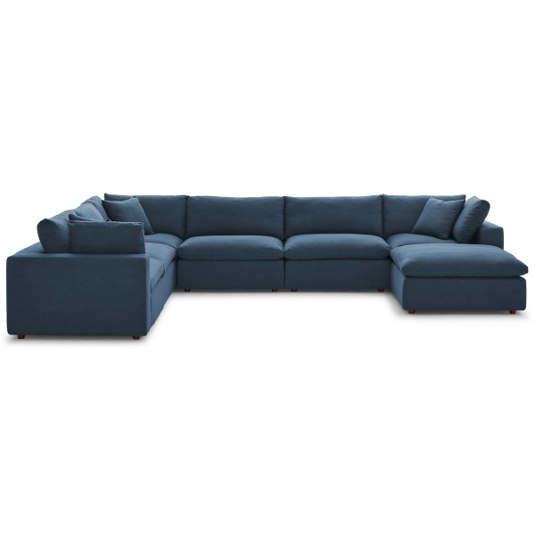EEI-3364-AZU Commix Down Filled Overstuffed 7 Piece Sectional Sofa Set Azure
