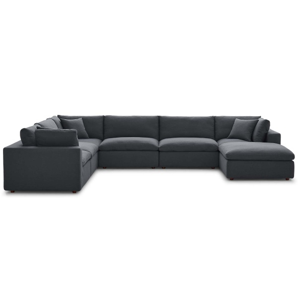Commix Down Filled Overstuffed 7 Piece Sectional Sofa Set Gray