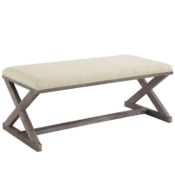 Upholstered Bench Beige: Province Vintage French X-Brace Upholstered Fabric Bench Beige