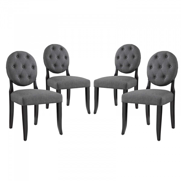 EEI-3376-GRY Button Dining Side Chair Upholstered Fabric Set of 4 Gray