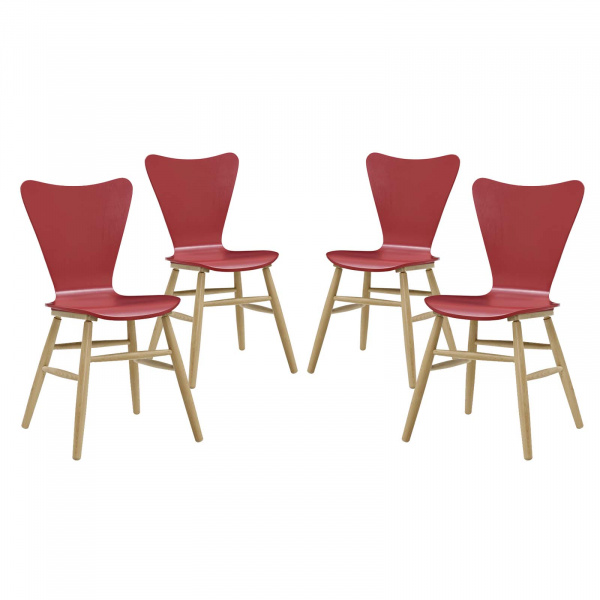 EEI-3380-RED Cascade Dining Chair Set of 4 Red