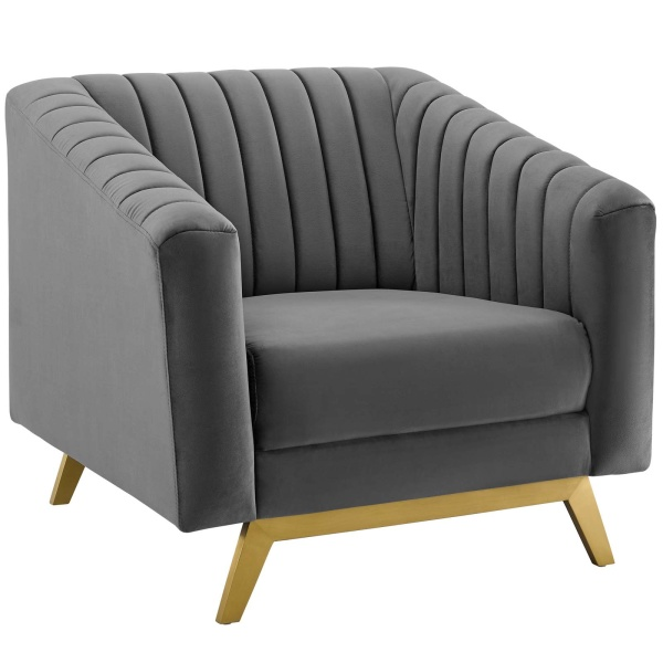 Valiant Vertical Channel Tufted Performance Velvet Armchair Gray