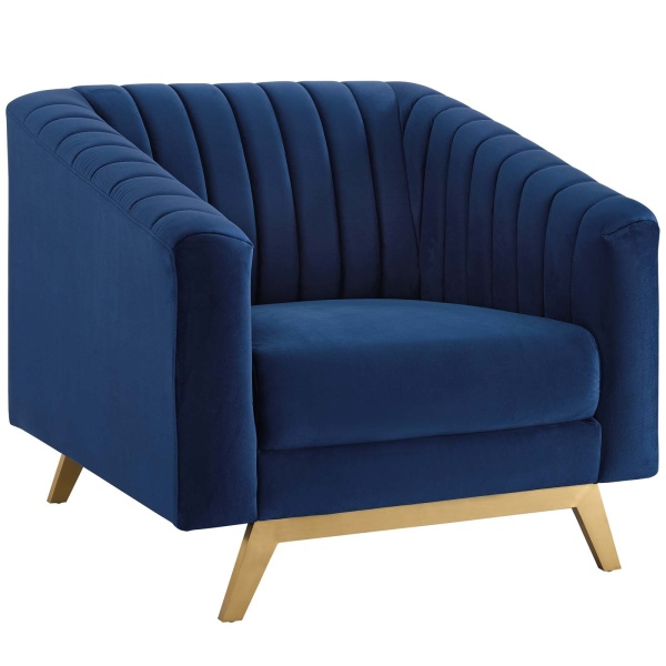 EEI-3404-NAV Valiant Vertical Channel Tufted Performance Velvet Armchair Navy
