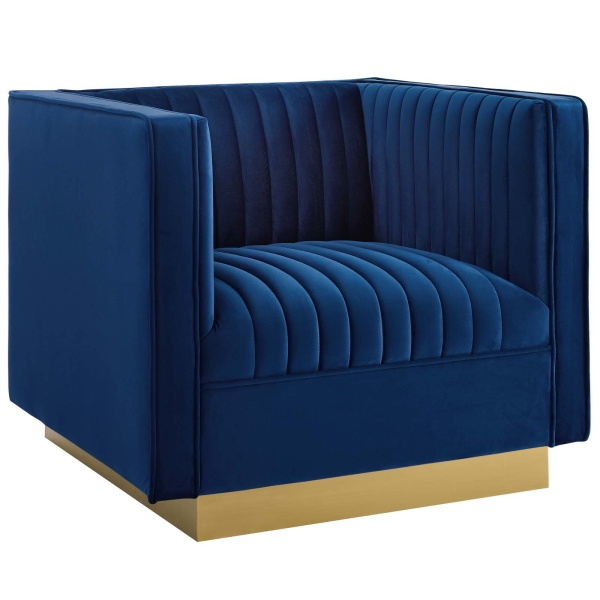 Sanguine Vertical Channel Tufted Accent Performance Velvet Armchair Navy