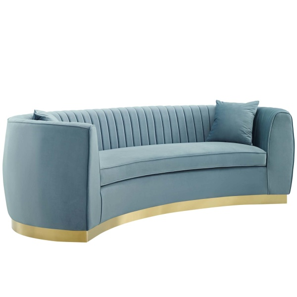 Enthusiastic Vertical Channel Tufted Curved Performance Velvet Sofa Light Blue
