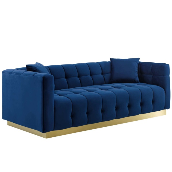Vivacious Biscuit Tufted Performance Velvet Sofa Navy