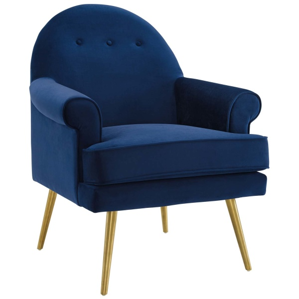 Revive Tufted Button Accent Performance Velvet Armchair Navy
