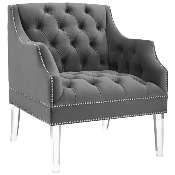 Proverbial Tufted Button Accent Performance Velvet Armchair Gray