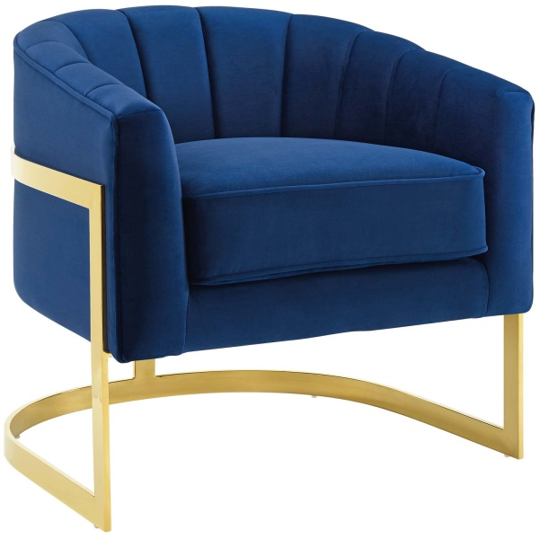 Esteem Vertical Channel Tufted Performance Velvet Accent Armchair Navy