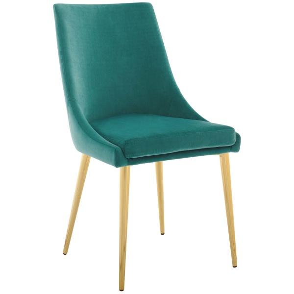 Viscount Modway Accent Performance Velvet Dining Chair Teal