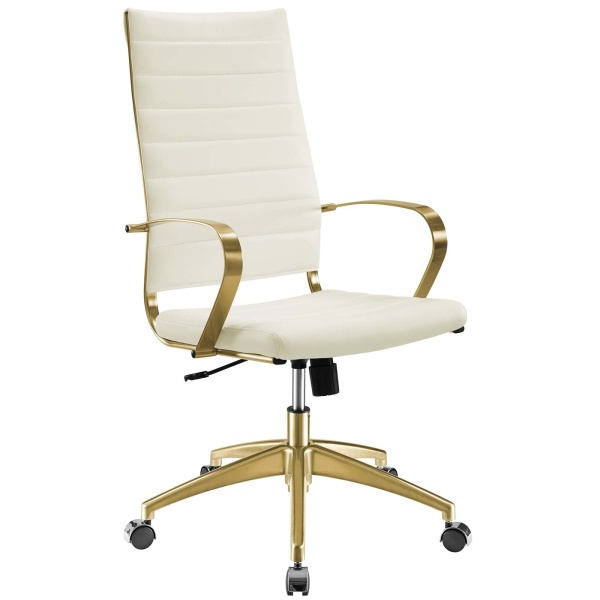 Jive Gold Stainless Steel Highback Office Chair Gold White