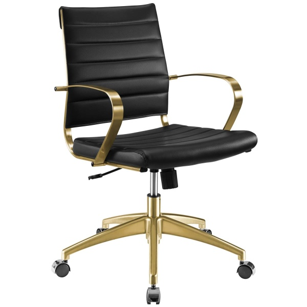 Jive Gold Stainless Steel Midback Office Chair Gold Black