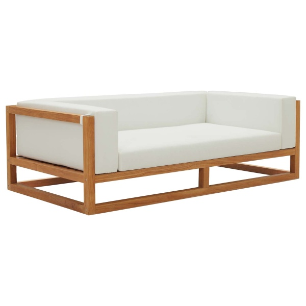 EEI-3423-NAT-WHI Newbury Accent Lounge Outdoor Patio Premium Grade A Teak Wood Sofa