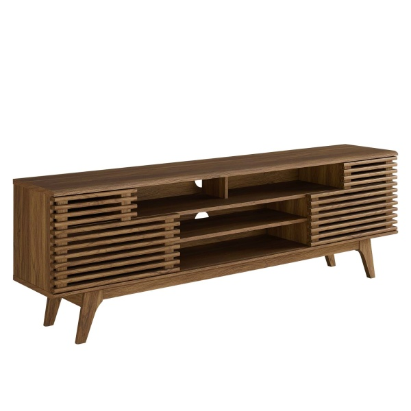 "EEI-3433-WAL Render 71"" Media Console TV Stand Walnut"
